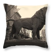 Guarded Lion Statue In Chicago Throw Pillow