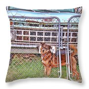 Guarding The Ford Throw Pillow