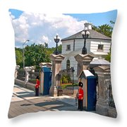 Guards At Queen's Gate In Ottawa-on Throw Pillow