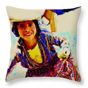 Guatemala Fisher Boy Smiling Throw Pillow