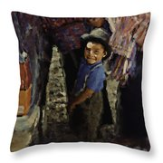 Guatemalan Boy Throw Pillow