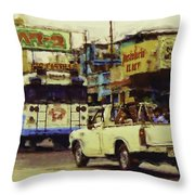 Guatemalan Street Cars Throw Pillow