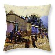 Guatemalan Street Life Throw Pillow
