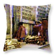 Guatemalan With Firewood Throw Pillow