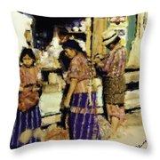 Guatemalan Family Shopping Throw Pillow