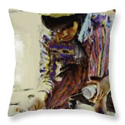 Guatemalan Fisher Boy Throw Pillow