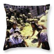 Guatemalan Girls Playing Throw Pillow