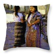 Guatemalan Girls Throw Pillow