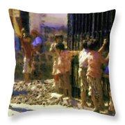 Guatemalan Line Of Boys Throw Pillow