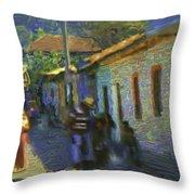 Guatemalan Scene Painter Throw Pillow