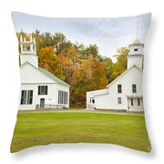 Guildhall Village Historic District In Autumn Vermont Throw Pillow