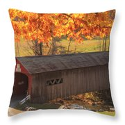 Guilford Vermont Covered Bridge Throw Pillow