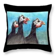 Guinea Hen Rooster Trio Farm Ranch Animal Art Throw Pillow