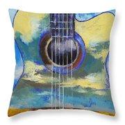 Guitar And Clouds Throw Pillow