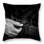 Guitar And Hand Bw Throw Pillow