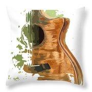 Guitar Green Background 4 Throw Pillow