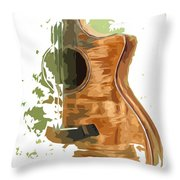 Guitar Green Background 4 Throw Pillow