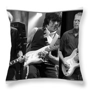 Guitar Legends Jimmy Page Jeff Beck And Eric Clapton Throw Pillow