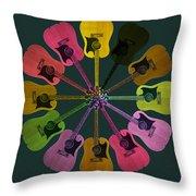 Guitar O Clock Throw Pillow