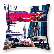 10261 Seasick Steve's Guitar On Drum Throw Pillow