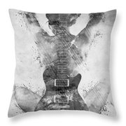 Guitar Siren In Black And White Throw Pillow