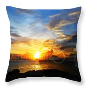 Guitar Sunset - Guitars By Sharon Cummings Throw Pillow