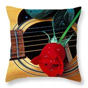 Guitar With Single Red Rose Throw Pillow