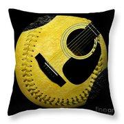 Guitar Yellow Baseball Square Throw Pillow