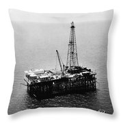Gulf Of Mexico Oil Rig, 1950 Throw Pillow
