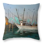 Gulf Shrimpers Throw Pillow
