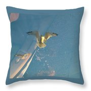 Gull Catching Popcorn Throw Pillow