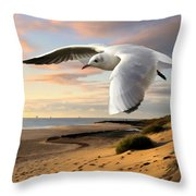 Gull On The Wing Over Beach Landscape Throw Pillow