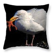 Gull With Starfish Throw Pillow