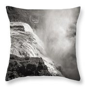 Gullfoss Iceland In Black And White Throw Pillow