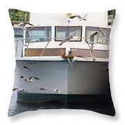 Gulls And Boat Throw Pillow