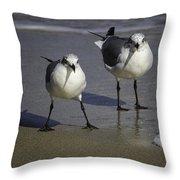 Gulls On The Beach Throw Pillow