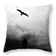 Gulls Over Towers Throw Pillow