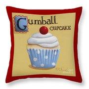 Gumball Cupcake Throw Pillow