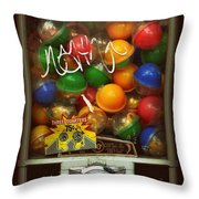 Series - Gumball Silver Bars With Graffiti - Iconic New York City Throw Pillow