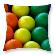 Gumballs Throw Pillow by April Wietrecki Green