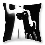 Gumby And Pokey B F F Black White Throw Pillow