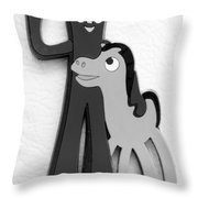 Gumby And Pokey B F F In B  W  Throw Pillow