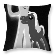 Gumby And Pokey B F F In Negative B W  Throw Pillow