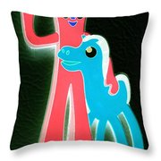 Gumby And Pokey B F F Negative Throw Pillow