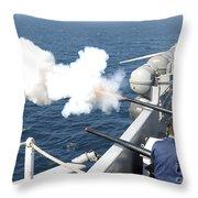 Gunners Mates Test Fire The Ships Throw Pillow