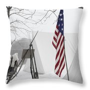 Guns And A Flag Throw Pillow