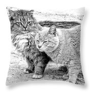 Gutter Kitties Four Throw Pillow