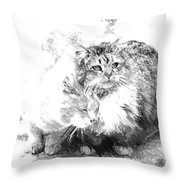 Gutter Kitties Six Throw Pillow