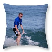 Guy Surfing Throw Pillow