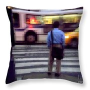 Crossing The Street - Traffic Throw Pillow